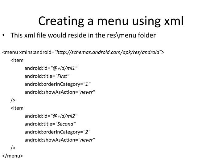 Creating a menu using xml