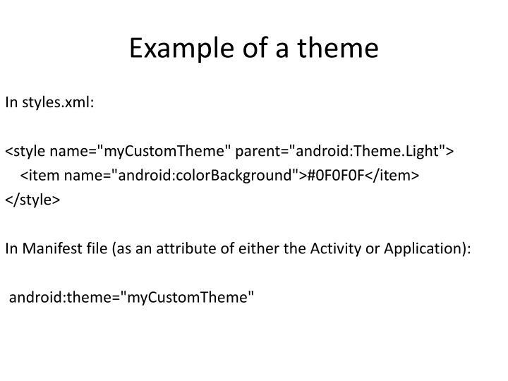 Example of a theme