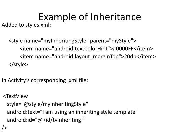 Example of Inheritance