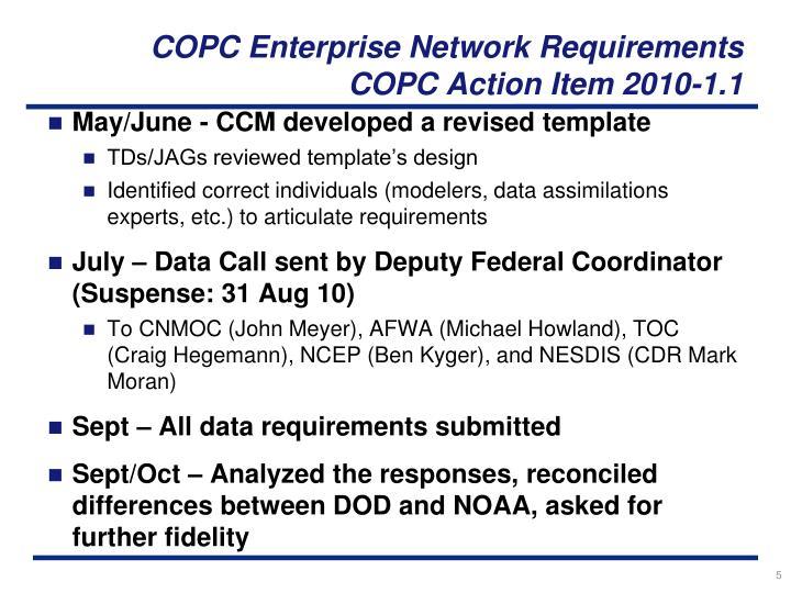 COPC Enterprise Network Requirements