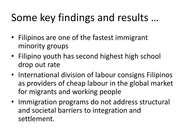 Some key findings and results …