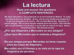 la lectura read and answer the questions in complete sentences3