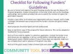 checklist for following funders guidelines
