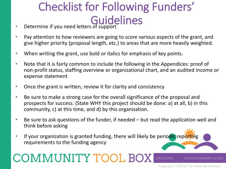 Checklist for Following Funders' Guidelines