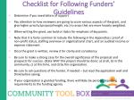 checklist for following funders guidelines1