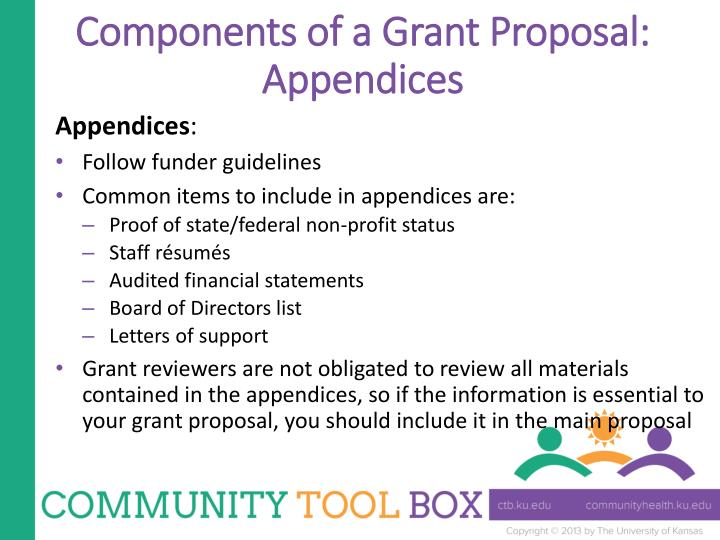Components of a Grant Proposal: Appendices