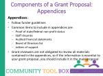 components of a grant proposal appendices
