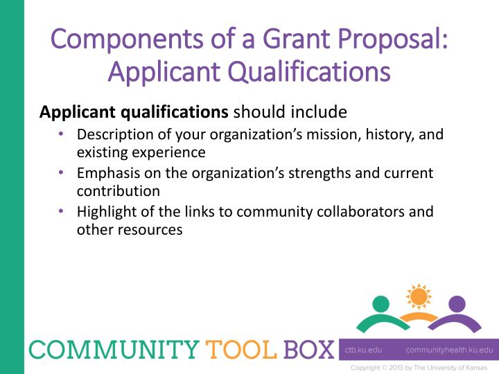 Components of a Grant Proposal: Applicant Qualifications