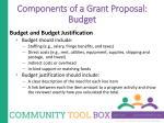 components of a grant proposal budget