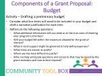 components of a grant proposal budget1