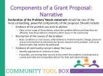 components of a grant proposal narrative1