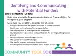 identifying and communicating with potential funders1