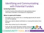 identifying and communicating with potential funders2