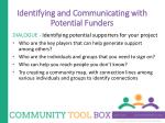 identifying and communicating with potential funders3