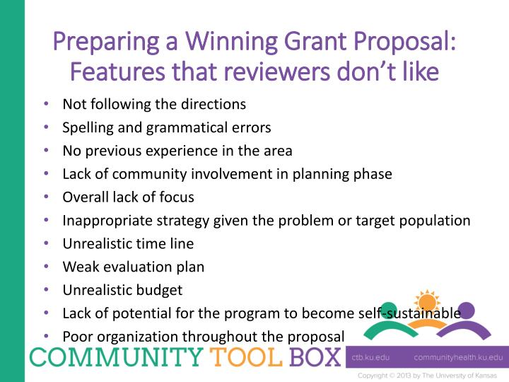 Preparing a Winning Grant Proposal: Features that reviewers don't like