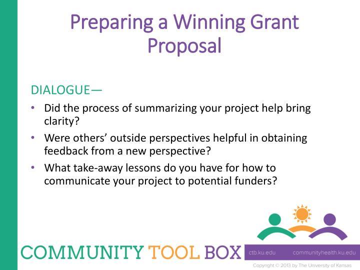 Preparing a Winning Grant Proposal