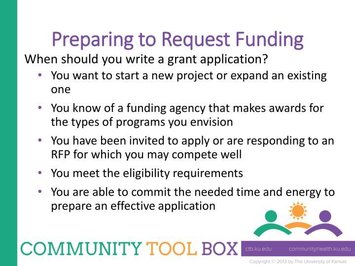 Preparing to Request Funding