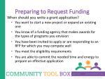 preparing to request funding1