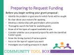 preparing to request funding2