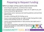 preparing to request funding3
