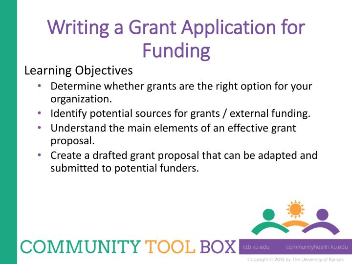 Writing a grant application for funding1