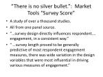 there is no silver bullet market tools survey score