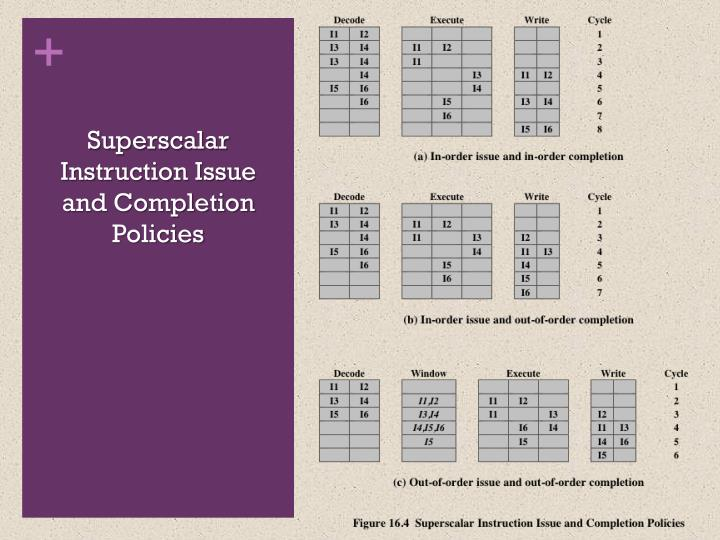 Superscalar Instruction Issue and Completion Policies