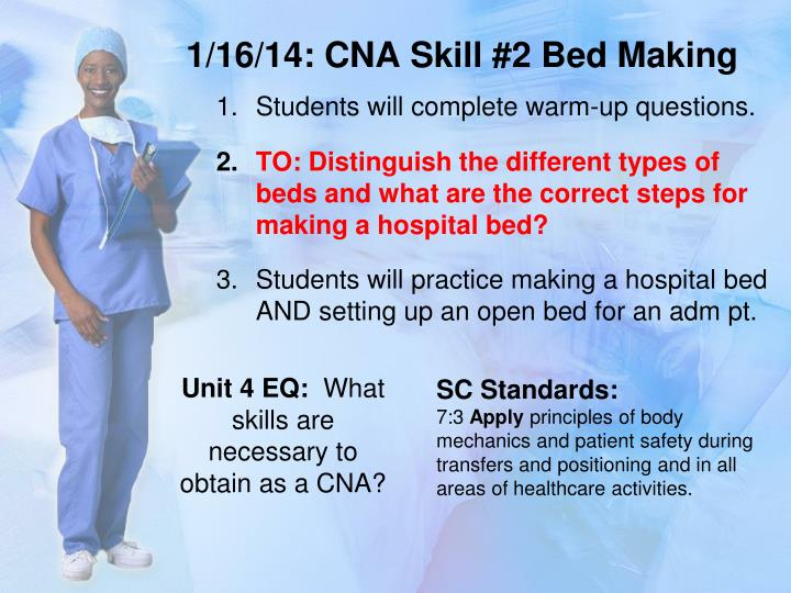1 16 14 cna skill 2 bed making