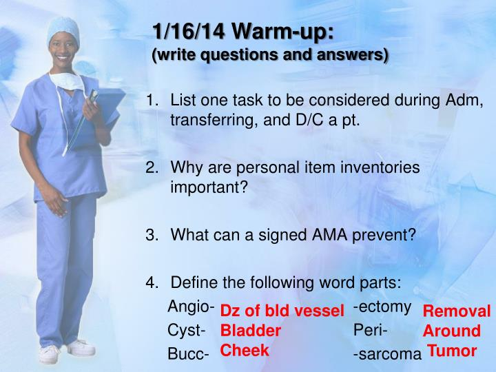 1 16 14 warm up write questions and answers