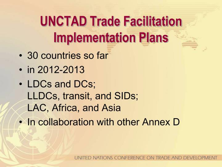 UNCTAD Trade Facilitation Implementation Plans