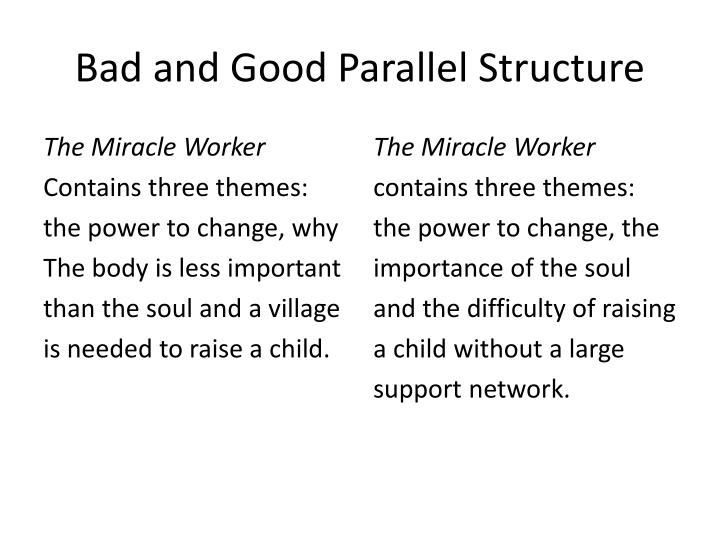 Bad and Good Parallel Structure