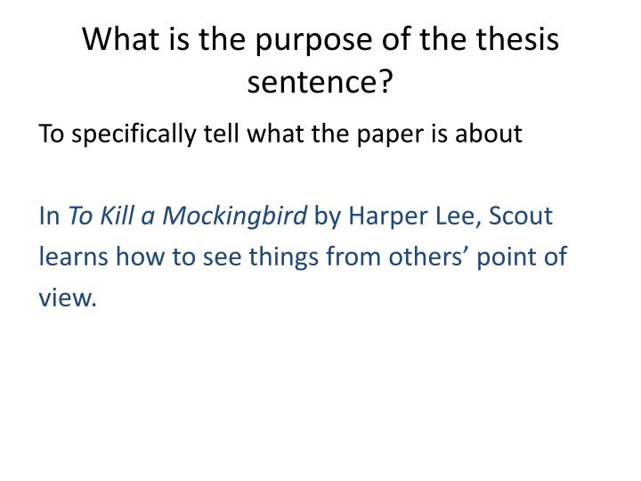 What is the purpose of the thesis sentence?