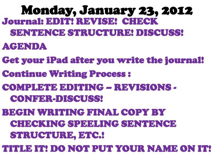 Monday, January 23, 2012