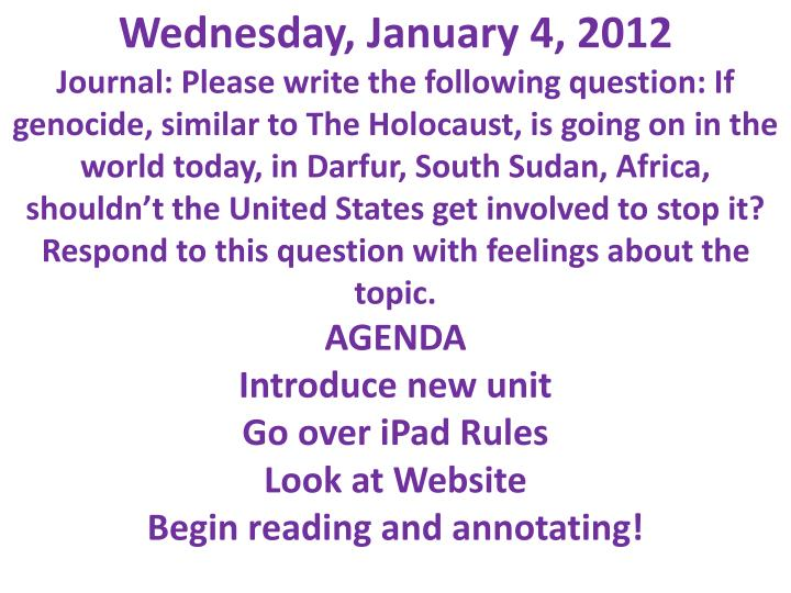 Wednesday, January 4, 2012