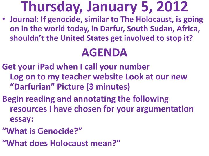 Thursday january 5 2012