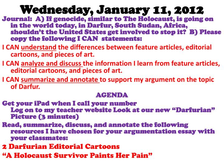 Wednesday, January 11, 2012