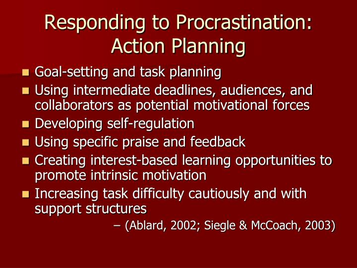Responding to Procrastination: Action Planning