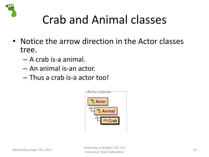 Crab and Animal classes