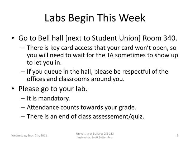 Labs Begin This Week