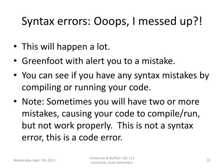 Syntax errors: