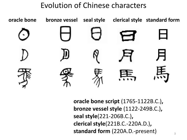 Evolution of chinese characters oracle bone bronze vessel seal style clerical style standard form