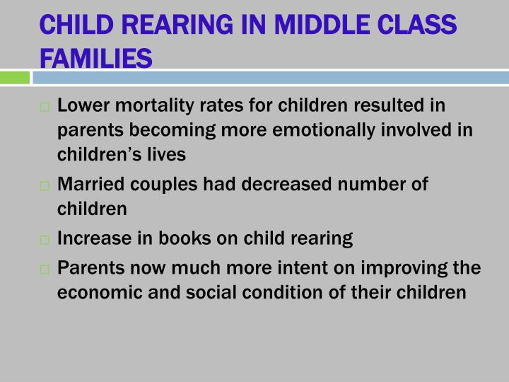 CHILD REARING IN MIDDLE CLASS FAMILIES