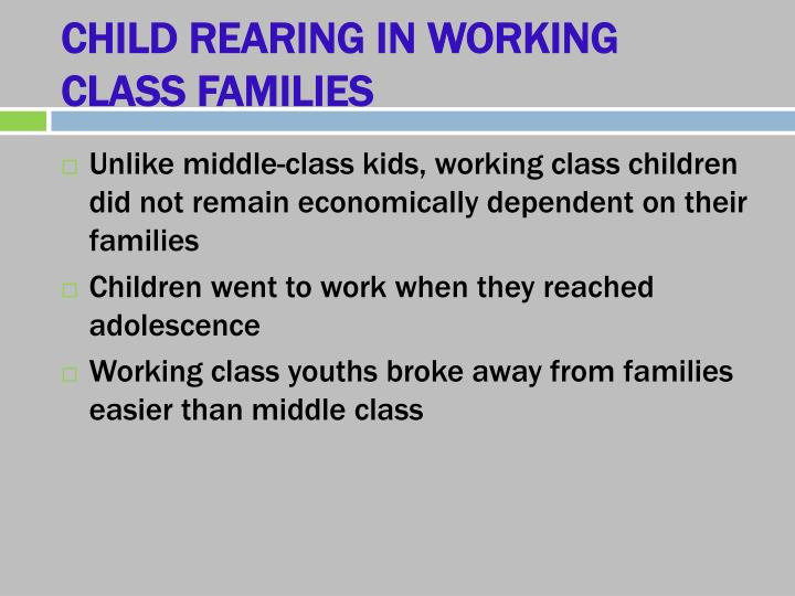 CHILD REARING IN WORKING CLASS FAMILIES