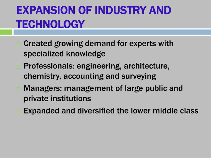 EXPANSION OF INDUSTRY AND TECHNOLOGY