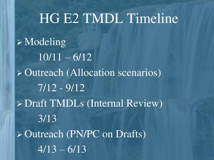HG E2 TMDL Timeline