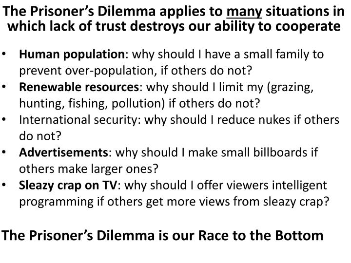 The Prisoner's Dilemma applies to