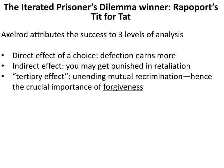 The Iterated Prisoner's Dilemma winner: