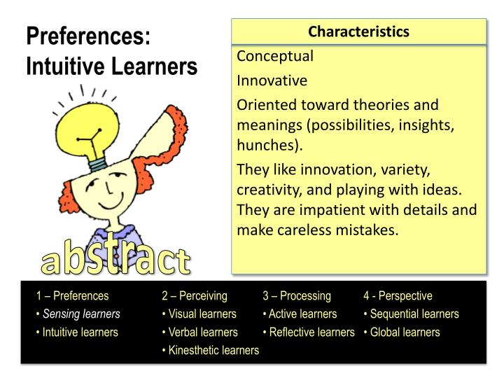 Preferences intuitive learners