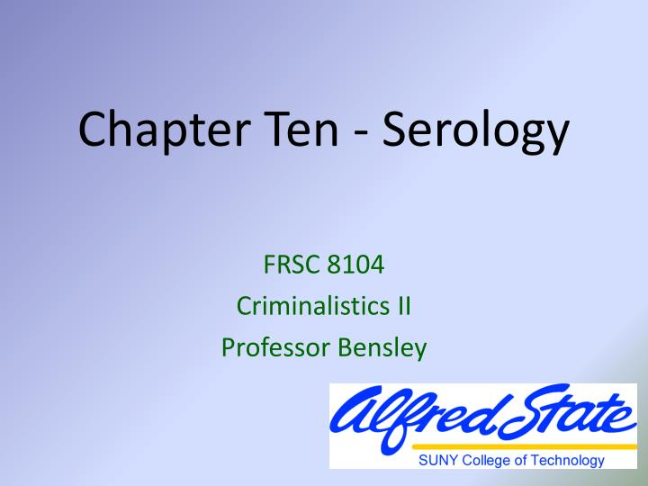 Chapter ten serology