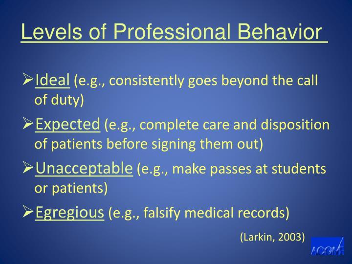 Levels of Professional Behavior